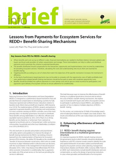 Lessons from Payments for Ecosystem Services for REDD  Benefit Sharing Mechanisms PDF