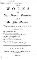 The Works of Mr. Francis Beaumont and Mr. John Fletcher