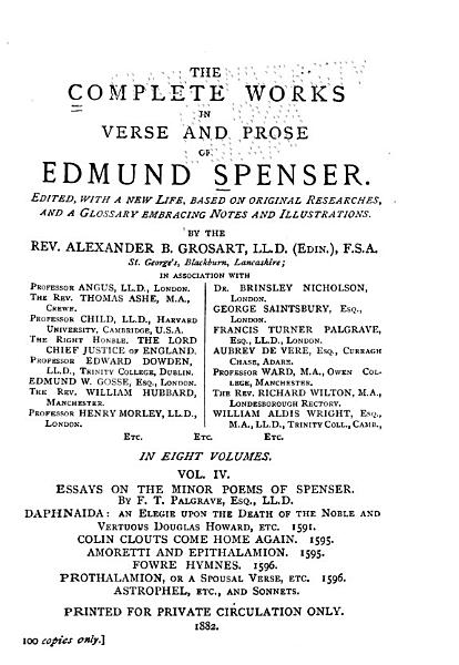 Download The Complete Works in Verse and Prose of Edmund Spenser  Ed Book