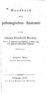 Handbuch der pathologischen Anatomie: Band 2,Teil 1