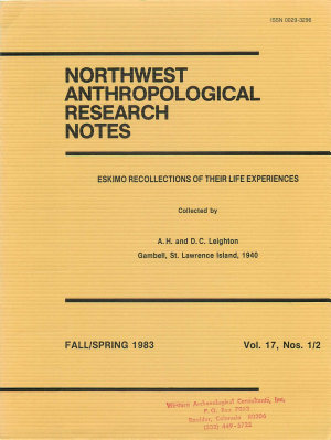 Northwest Anthropological Research Notes