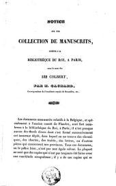 Notice sur une collection de manuscrits connue à la bibliothèque du roi, à Paris, sous le nom des 182 Colbert