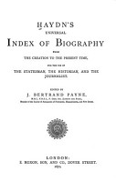 Haydn s Universal Index of Biography from the Creation to the Present Time PDF