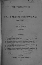 Transactions of the South African Philosophical Society: Volume 2