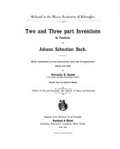 Two and three part inventions for the pianoforte: 15 three part inventions