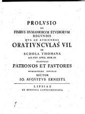 Prolusio De Finibus Humaniorum Studiorum Regundis