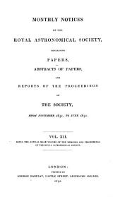 Monthly Notices of the Royal Astronomical Society: Volume 12