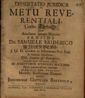 Dissertatio iuridica de metu reverentiali, germ. Ehrfurcht