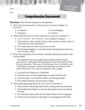 Number the Stars Comprehension Assessment