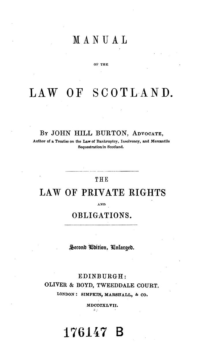 The Law of Private Rights and Obligations