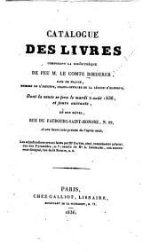 Catalogue des livres composant la bibliothèque de feu M. le comte Roederer ...: dont la vente se fera ... 2 août 1836 ... les adjudications seront faites par Me David ...
