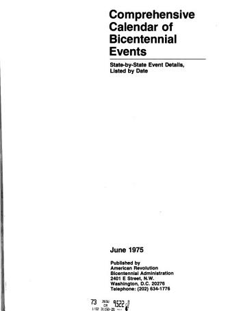 Comprehensive Calendar of Bicentennial Events  June 1975 PDF