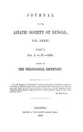 Journal of the Asiatic Society of Bengal: Volume 34