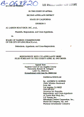 California. Court of Appeal (2nd Appellate District). Records and Briefs: B063820, Respondent Brief, 02