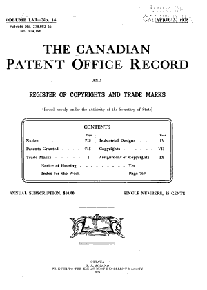 The Canadian Patent Office Record and Register of Copyrights and Trade Marks
