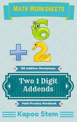 100 Addition Worksheets with Two 1-Digit Addends