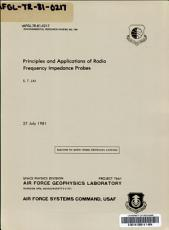 Principles and Applications of Radio Frequency Impedance Probes PDF