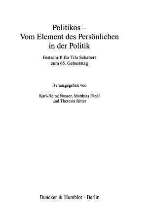 Politikos  vom Element des Pers  nlichen in der Politik PDF