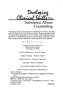 Developing Clinical Skills for Substance Abuse Counseling Book