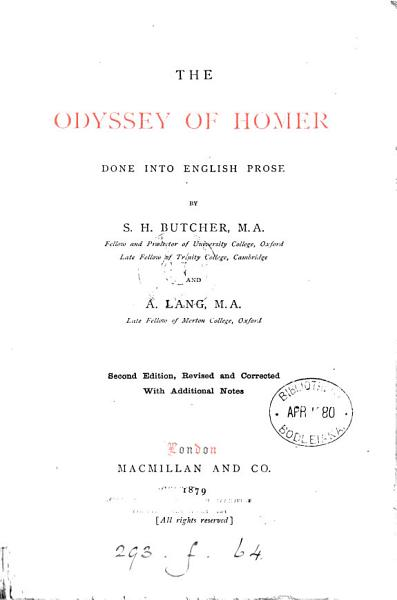 Download The Odyssey  done into Engl  prose by S H  Butcher and A  Lang Book