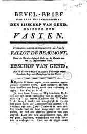 Bevel-brief van zyne hoogweerdigheyd den bisschop van Gend, nopende den Vasten