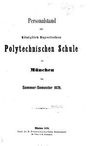 Personalstand der K  niglich Bayerischen Polytechnischen Schule zu M  nchen PDF