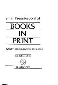 Small Press Record of Books in Print PDF