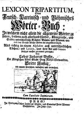 Dictionarium von dreyen Sprachen  Teutsch  Lateinisch  und B  hmisch  etc PDF