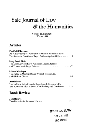 Yale Journal of Law   the Humanities PDF