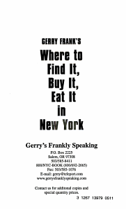 Gerry Frank s Where to Find It  Buy It  Eat It in New York PDF