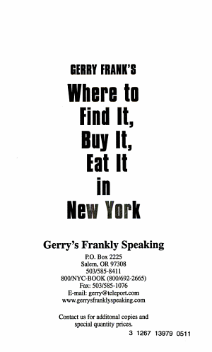 Gerry Frank's Where to Find It, Buy It, Eat It in New York