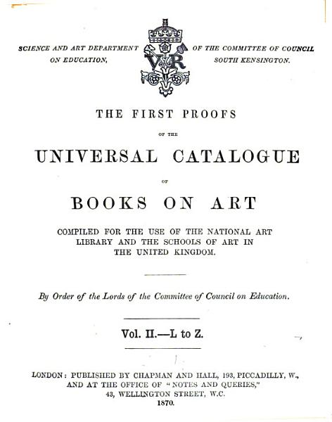 Download The First Proofs of the Universal Catalogue of Books on Art Book