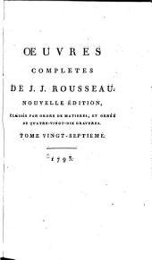 Œuvres completes de J.J. Rousseau: Exposé succinct de la contestation