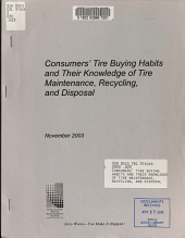 Consumers' Tire Buying Habits and Their Knowledge of Tire Maintenance, Recycling, and Disposal