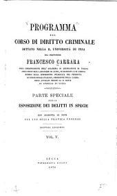 Programma del corso di diritto criminale: Volume 5