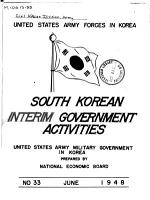 U S  Army Forces in Korea  South Korean Interim Government Activities  U S  Army Military Government in Korea PDF