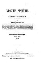 Indische Sprüche: sanskrit und deutsch, Band 1