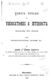 Voet's Titles on Vindications & Interdicta