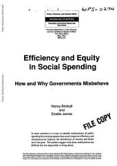 Efficiency and Equity in Social Spending: How and why Governments Misbehave