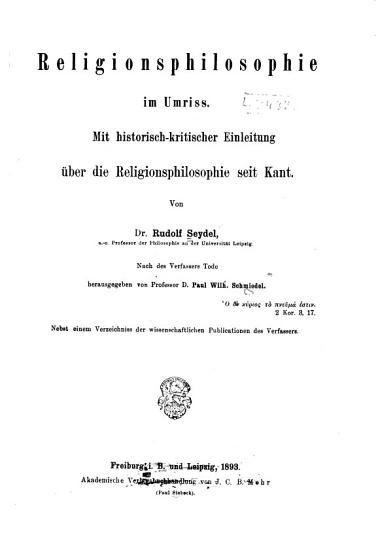 Religionsphilosophie im Umriss PDF