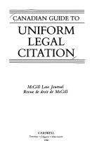 Download Canadian Guide to Uniform Legal Citation Book