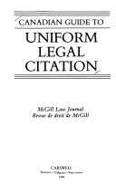 Canadian Guide to Uniform Legal Citation Book