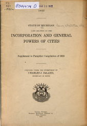 Laws Relating to the Incorporation and General Powers of Cities