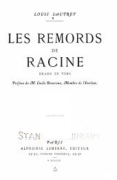 Les remords de Racine: Drame en vers