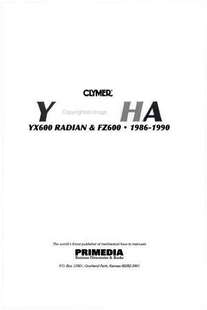 Clymer Yamaha YX600 Radian   FZ600  1986 1990