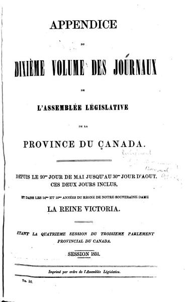 Download Journals of the Legislative Assembly of the Province of Canada Book