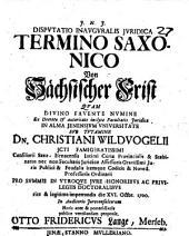 Disp. inaug. iur. de termino Saxonico ...