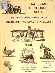 Carlsbad Resource Management Plan And Environmental Impact Statement Book PDF