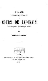 Discours prononcé à l'ouverture du cours de Japonais à l'École impériale et spéciale des langues orientales