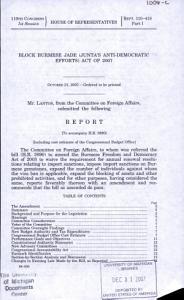 Block Burmese JADE  Junta s Anti Democratic Efforts  Act of 2007 PDF